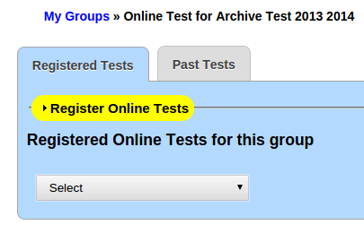 Baseline Test registration