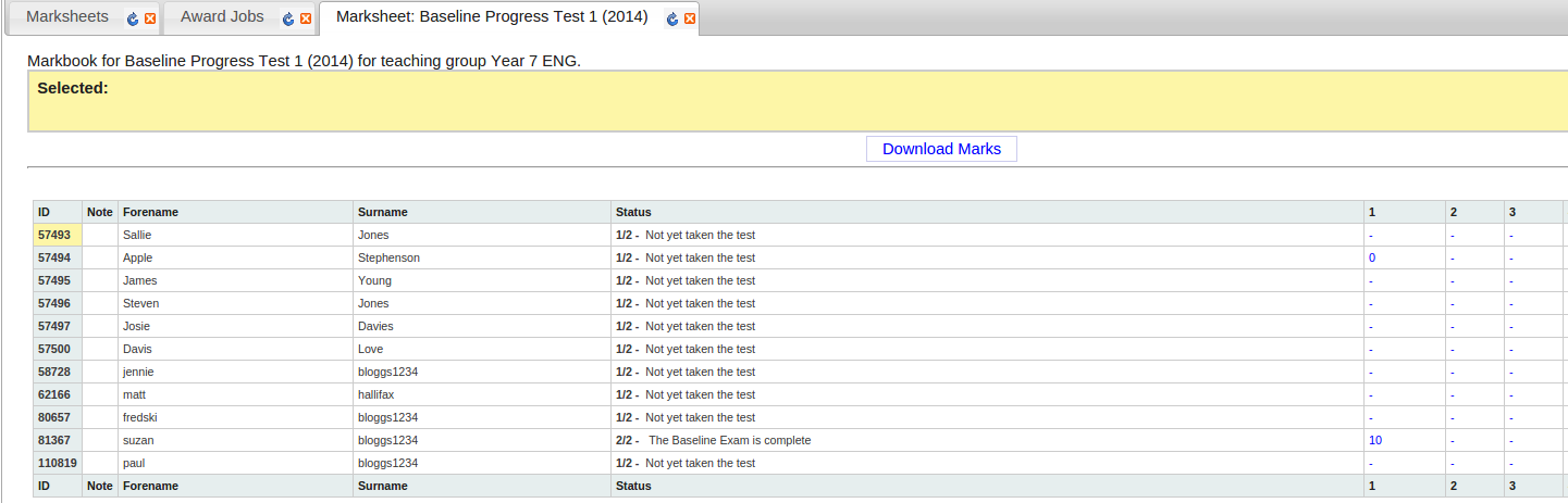 Markbook Site pupil scores