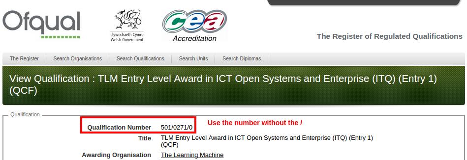 Ofqual QAN number